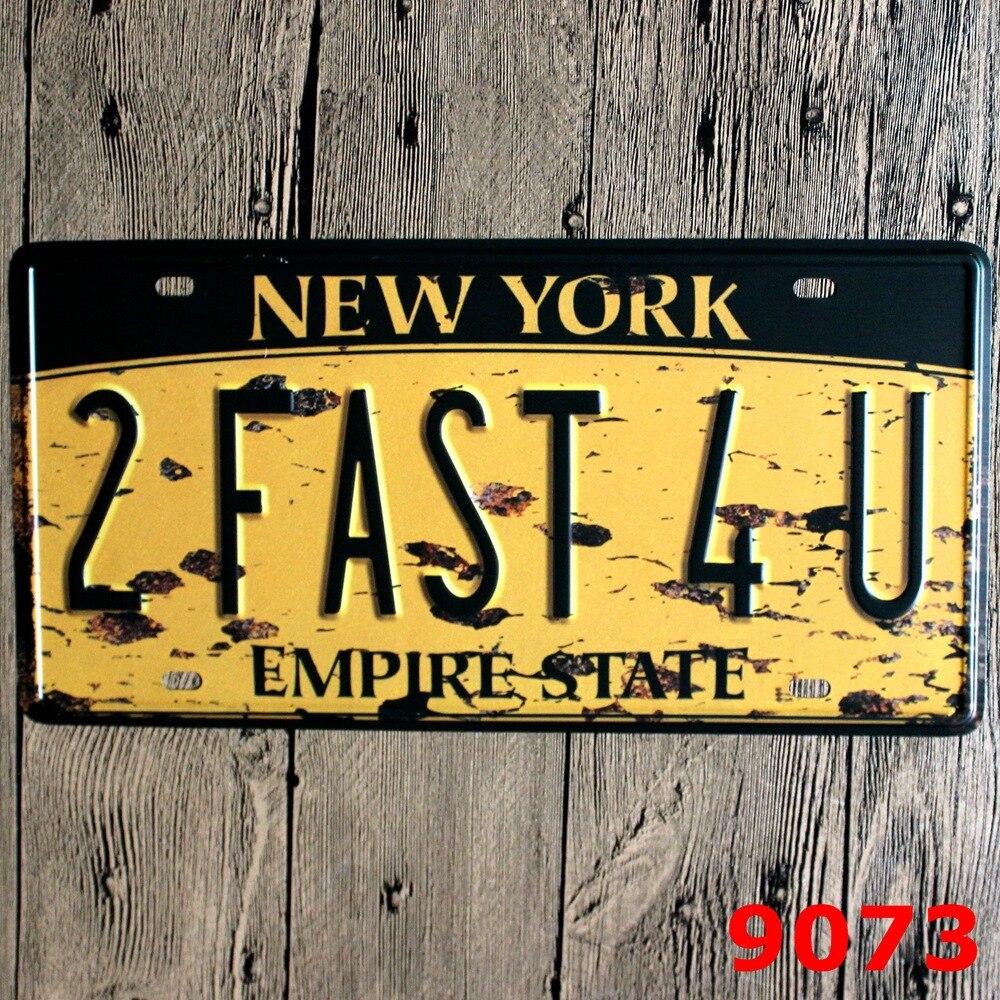 15x30 cm vintage license plates NEW YORK 2 FAST 4 U retro iron ...