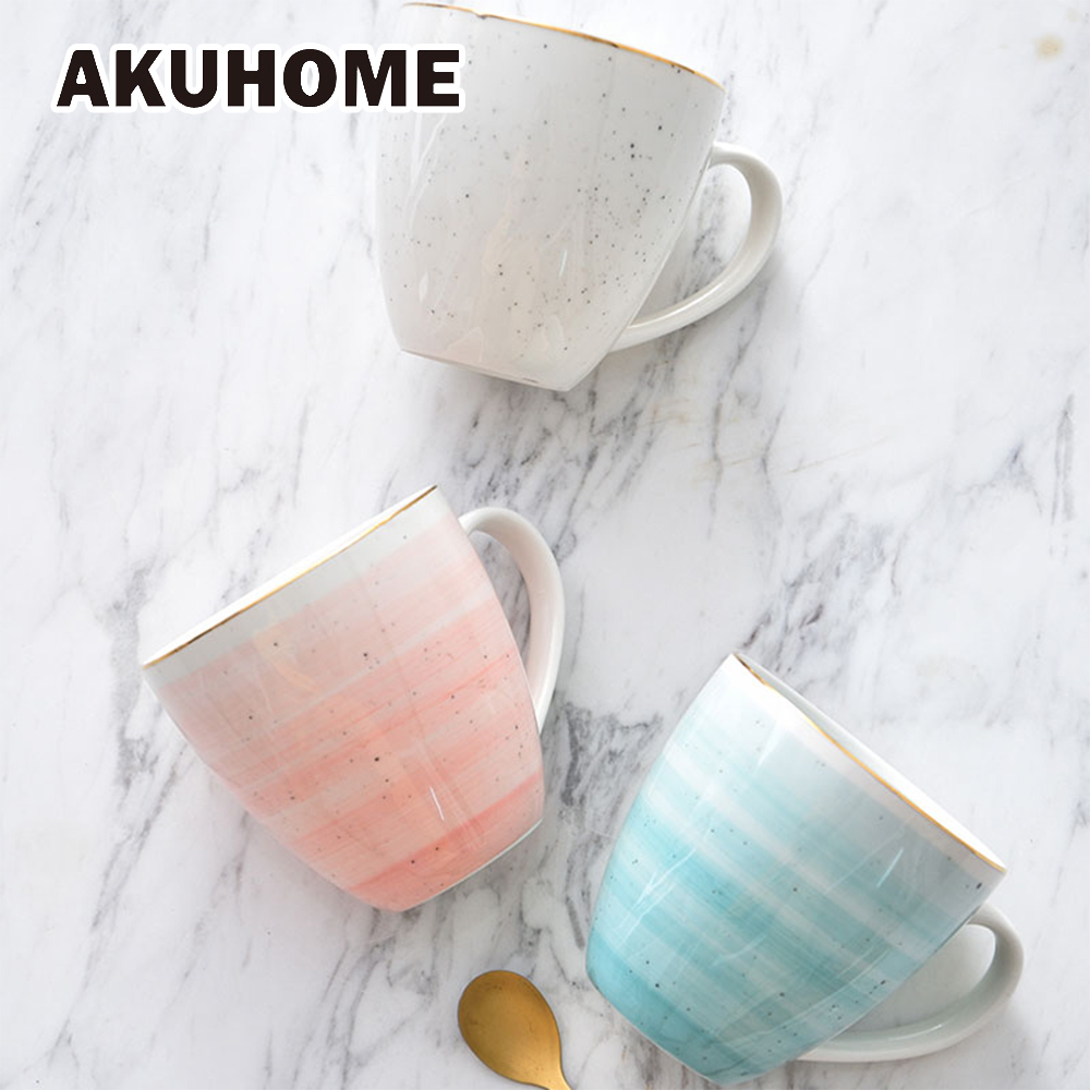 European 18K Gold Ceramic Mug 3 color Black Dot Porcelain Coffee Mug Hand Made Gold Stripe-in