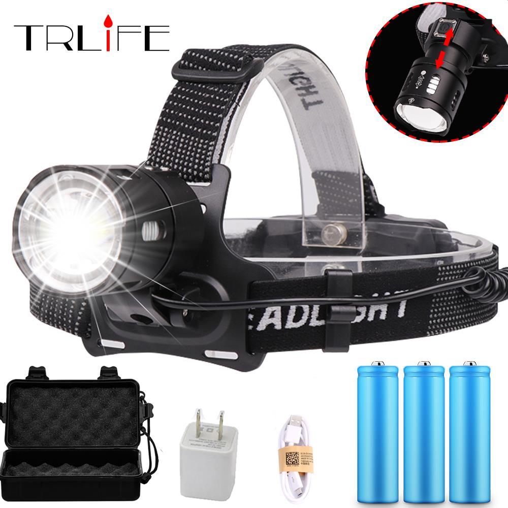 XHP70 LED Headlamp Waterproof V6 most Powerful XHP50 Headlight Rechargeable 18650 Zoom Head Lamp Bicycle light Lantern