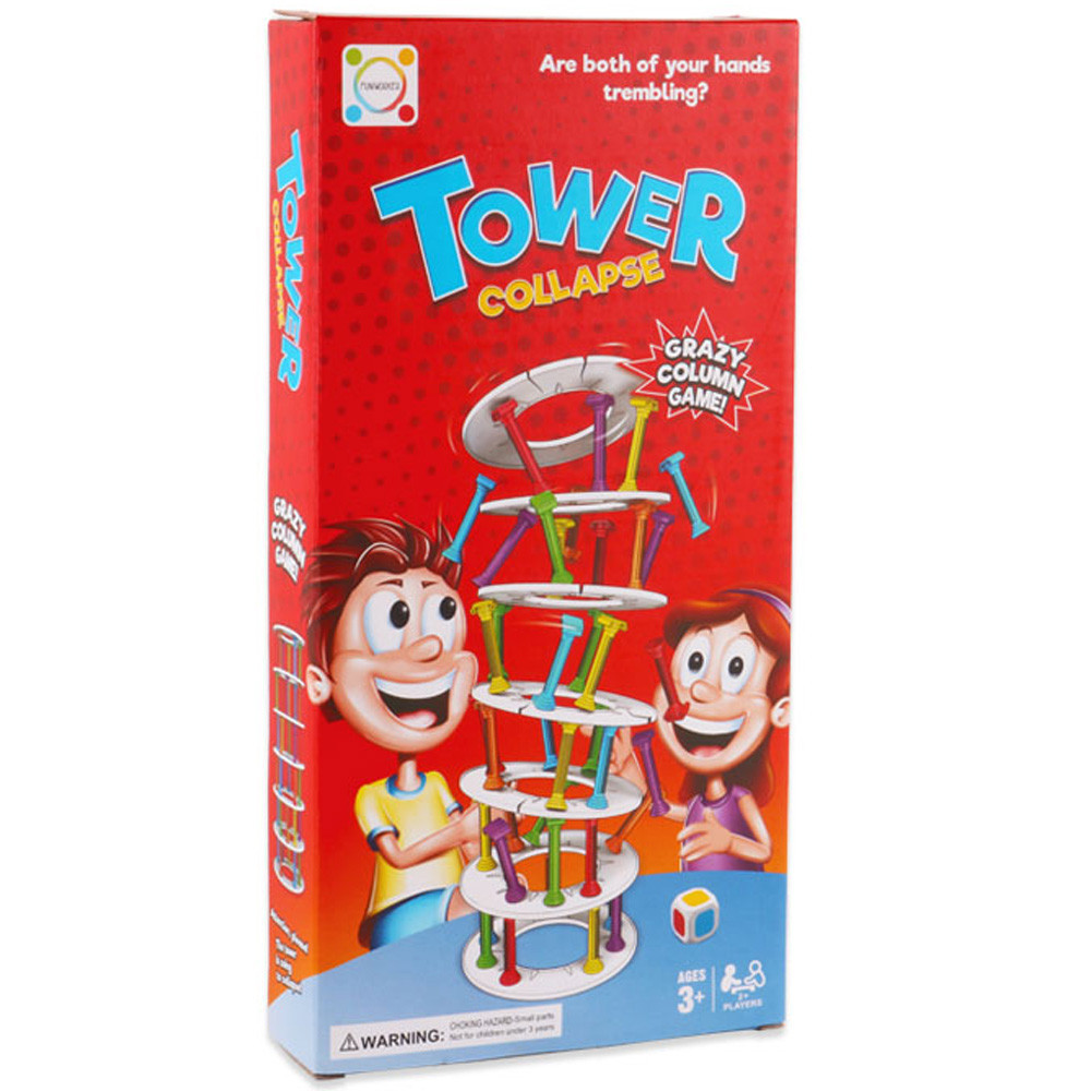 Board games Challenge Funny Game Plastic Toy Girls Boys Wobbly Tower Collapse Game Stacking Column Over 6 years old