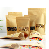 500pcs 4 size Paper Gift Bag For Tea Powder Nut Food Cookie Packaging Zip Lock Bags Gift Bag For Children