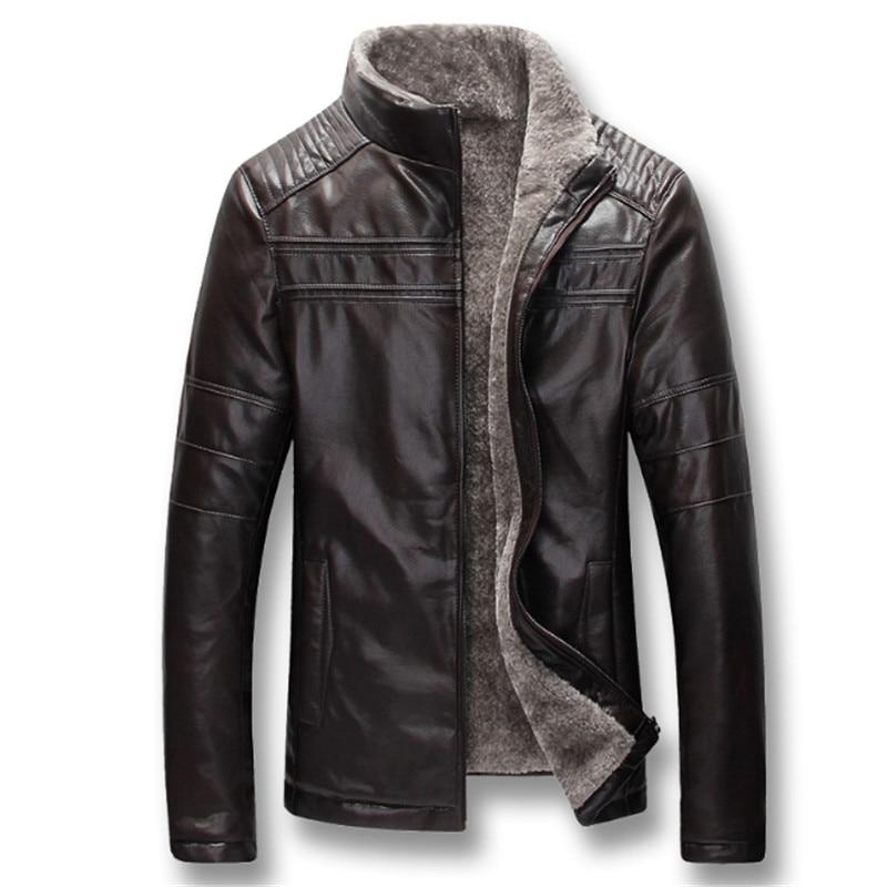 Для мужчин осень зима плотная флисовая куртка из искусственной кожи пальто Hombre Male; Повседневное мода Slim Fit Большой Размеры, на молнии, куртки, пальто для мужчин