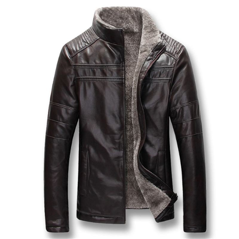 Men Autumn Winter Thick Fleece PU Leather Jackets Coats Hombre Male Casual Fashion Slim Fit Large Size Zip Jackets Men Coat