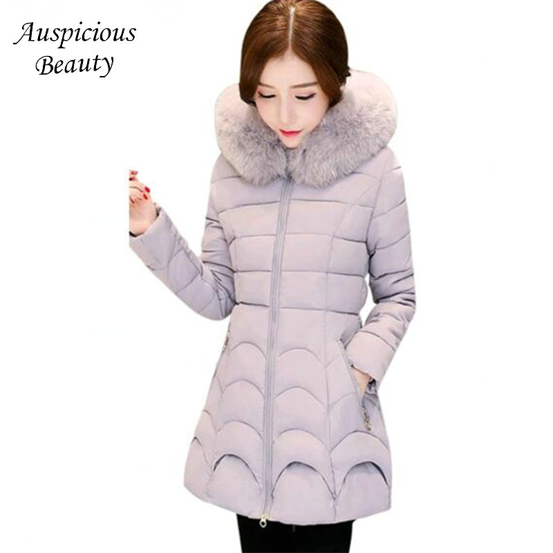 2017 New Winter Jacket Women Slim Womens Winter Jackets Hooded Coats Long Coat Female Office Lady Cotton Parkas Outwear QJW100 muxu new autumn winter coat women basic jacket coat female slim hooded cotton coats casual silver long sleeve ladies jackets