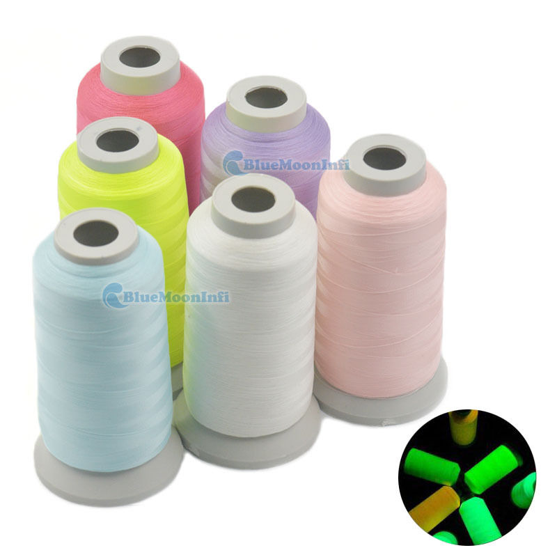 3000 Yards Glow In The Dark Machine Embroidery Thread Sew 150D Optical Polyester