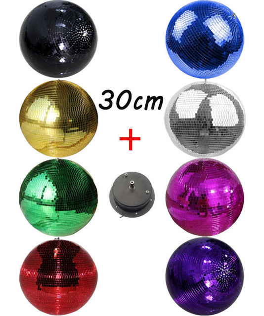 "D30cm diameter glass rotating mirror ball 12"" Christmas party light W/ Rotation motor reflective hanging shop store decor balls"