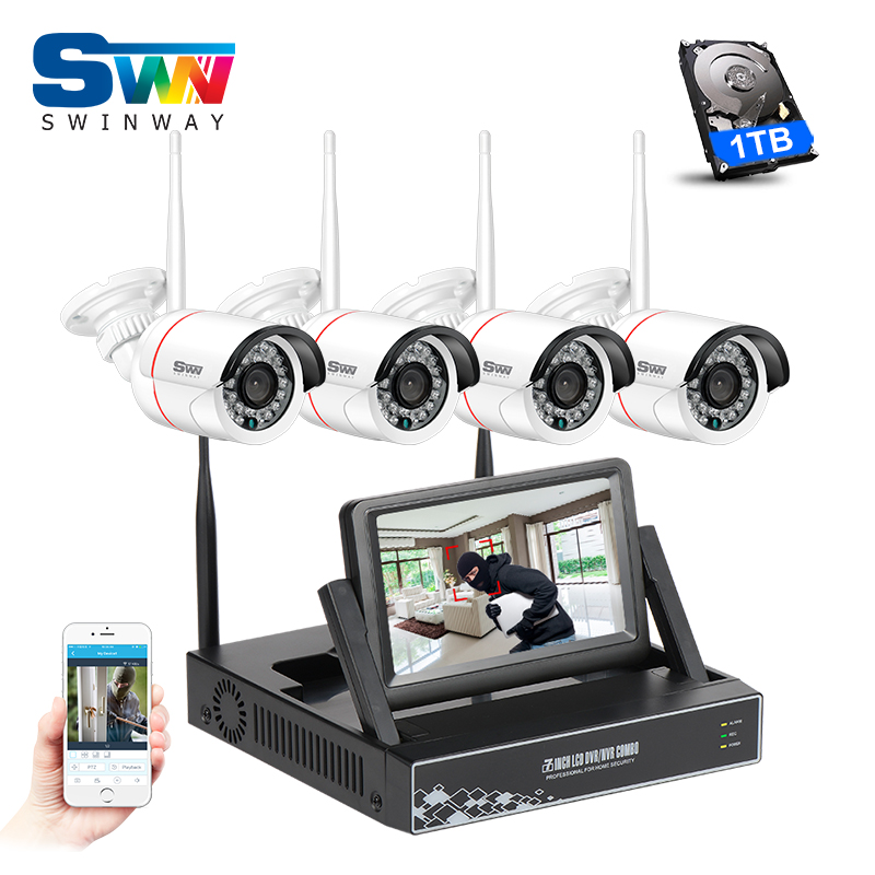 New Plug And Play 4CH Wifi Video CCTV Camera System With 7 LCD 1TB HDD 960P