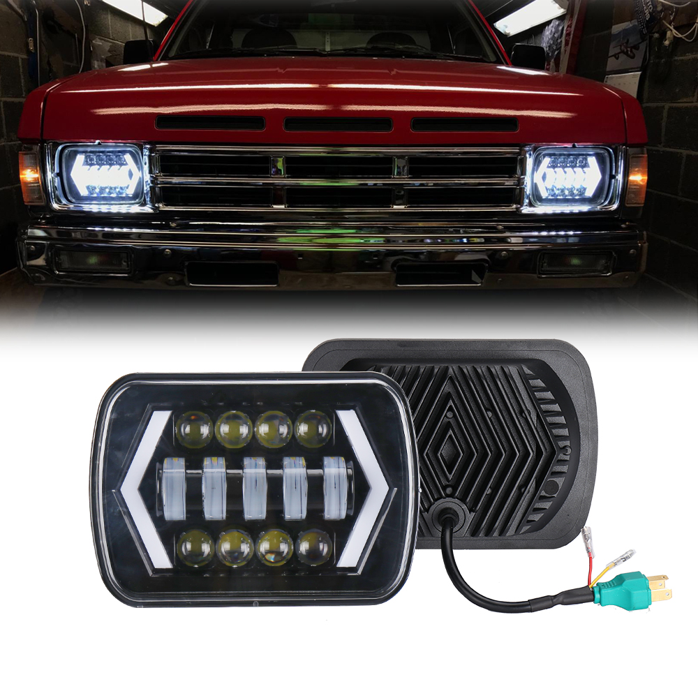 7x6 inch Halo LED Headlights 5x7 Square LED Headlamp with Arrow Angel Eyes DRL Light Replaces H4 Plug for Jeep 7inch for jeep led headlight 5x7 headlight type led driving light 24v car led headlights 7x6 led headlamp light 5 7inch h4 h l