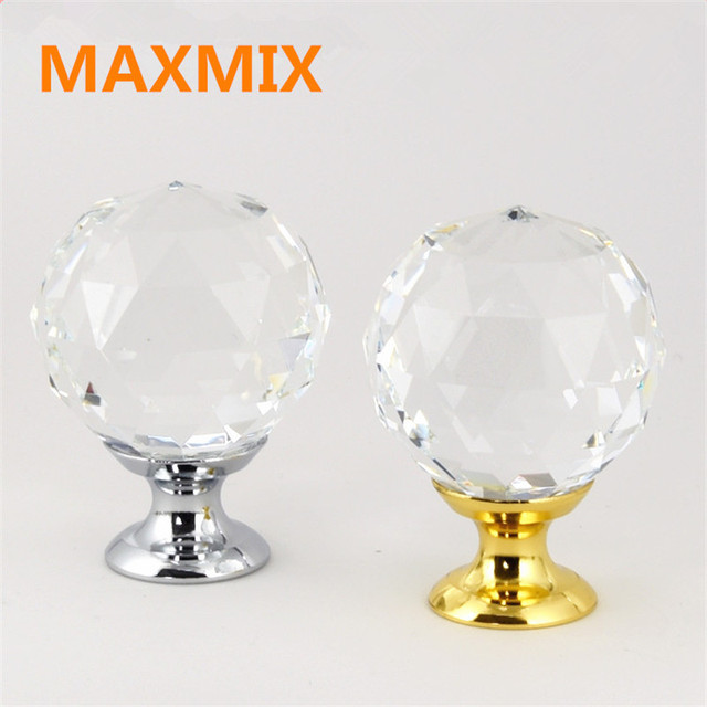 Merveilleux 6pcs/lot Cupboard Drawer Wardrobe Door Handle Gold Silver Crystal Handle  Crystal Door Knobs And