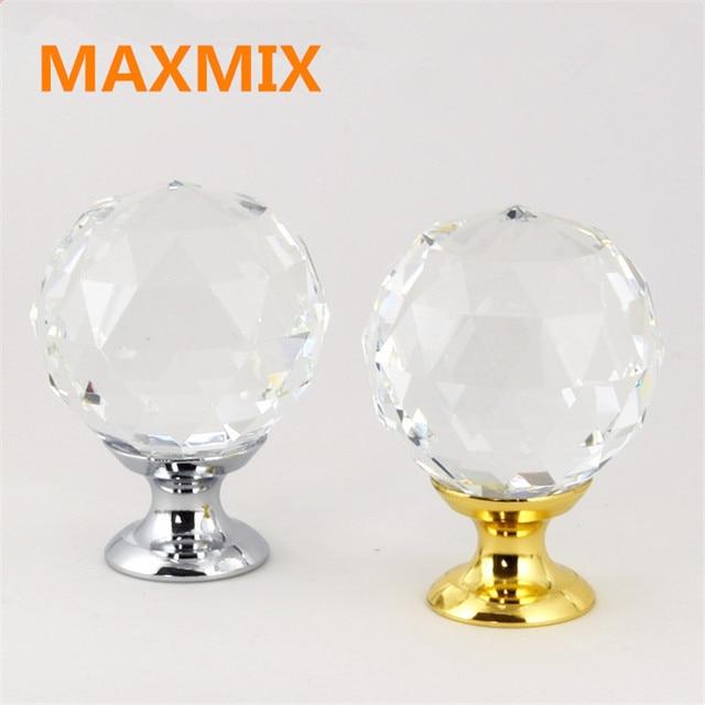 6pcs/lot Cupboard Drawer Wardrobe Door Handle Gold Silver Crystal Handle  Crystal Door Knobs And