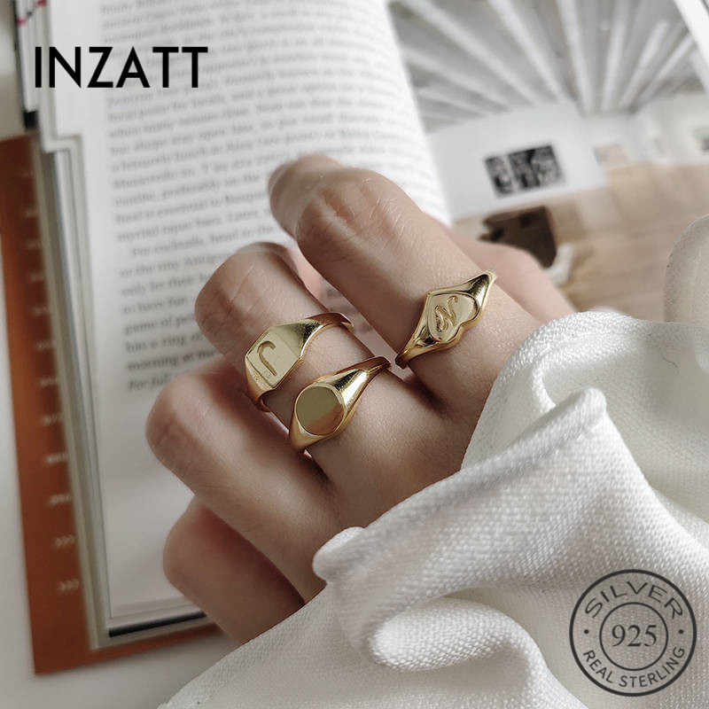INZATT Real 925 Sterling Silver Heart Letter J Opening Ring For Fashion Women MInimalist Hophip Ring Fine Jewelry Accessories