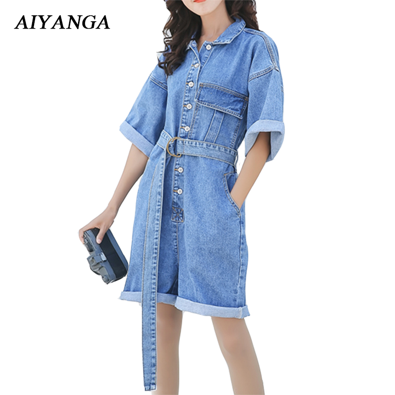 New Fashion Women Denim Playsuits Female Loose Overalls 2018 Spring Summer Jeans Shorts Slim Sashes Casual Light Blue Big Size