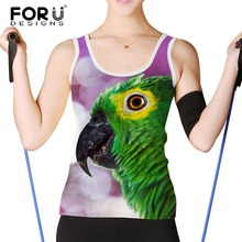 FORUDESIGNS Women Tank Tops Brand Clothing Parrot Peacock Sleeveless Tshirt Female Womens Shirt Woman Crop Tops Camis Femininas