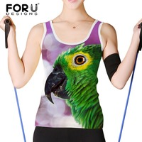 FORUDESIGNS Women Tank Tops Brand Clothing Parrot Peacock Sleeveless Tshirt Female Womens Shirt Woman Crop Tops