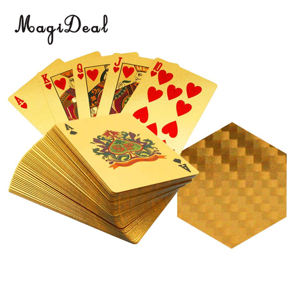 MagiDeal Hot Sale 24k Gold Plated Playing Cards Geometric Design Full Poker Deck Gift Board Games Supply Accessory Novelty Gift