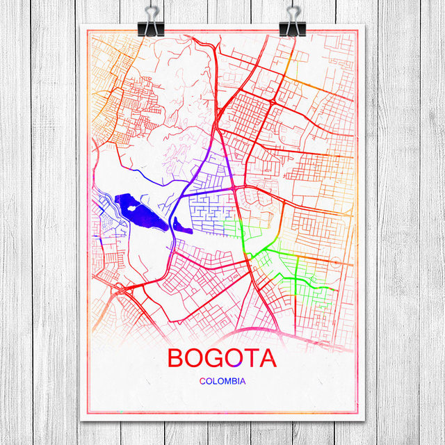Colorful World City Map BOGOTA Colombia Print Poster Abstract Coated on