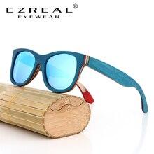 EZREAL marca diseñador gafas de sol de madera nuevos hombres polarizados monopatín azul gafas de sol de madera con caja Original gafas vintage Retro