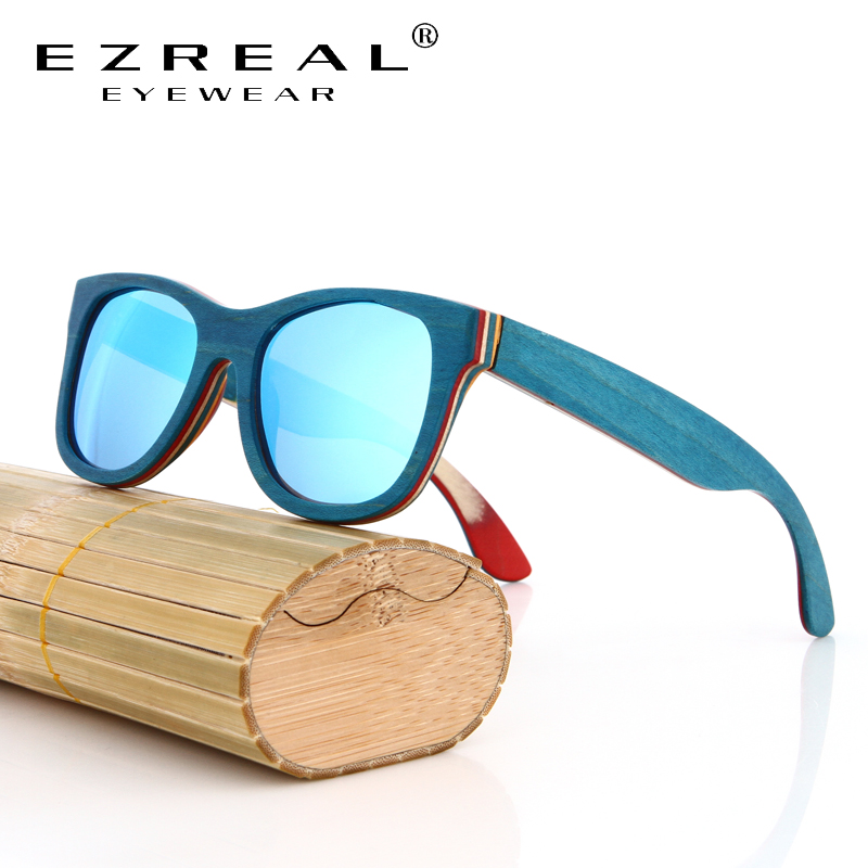 EZREAL Brand Designer wood zonnebril New men Polarized Blue Skateboard Wood sunGlasses with Original Box Retro Vintage Eyewear