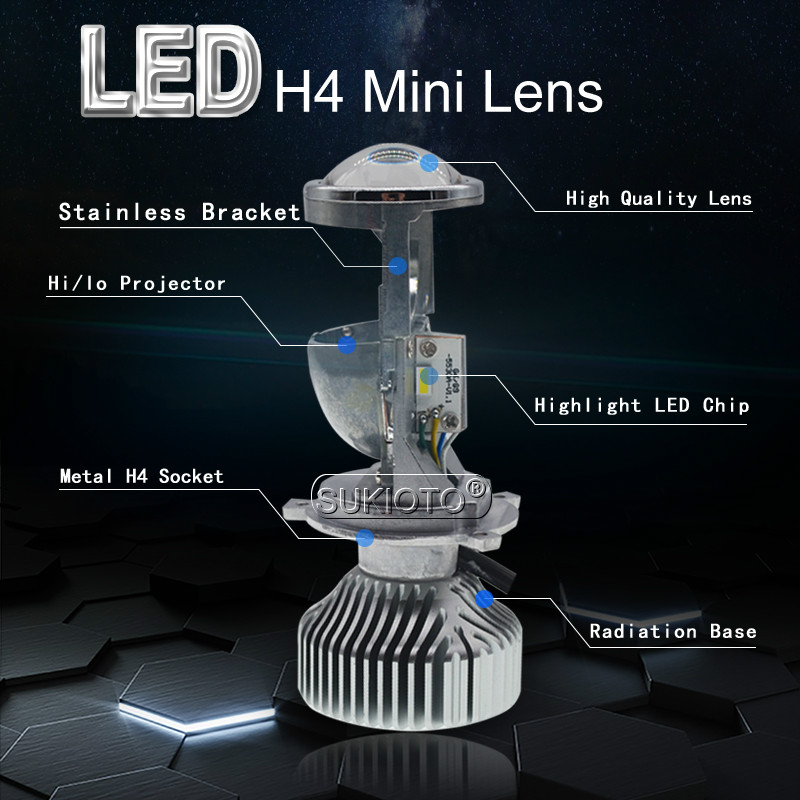 SUKIOTO 35W 70W H4 LED Headlight Projector lens Bulb LHD H4 HiLo H4 bixenon Mini projector bulb 1.5 inch 5500K Car Styling (23)