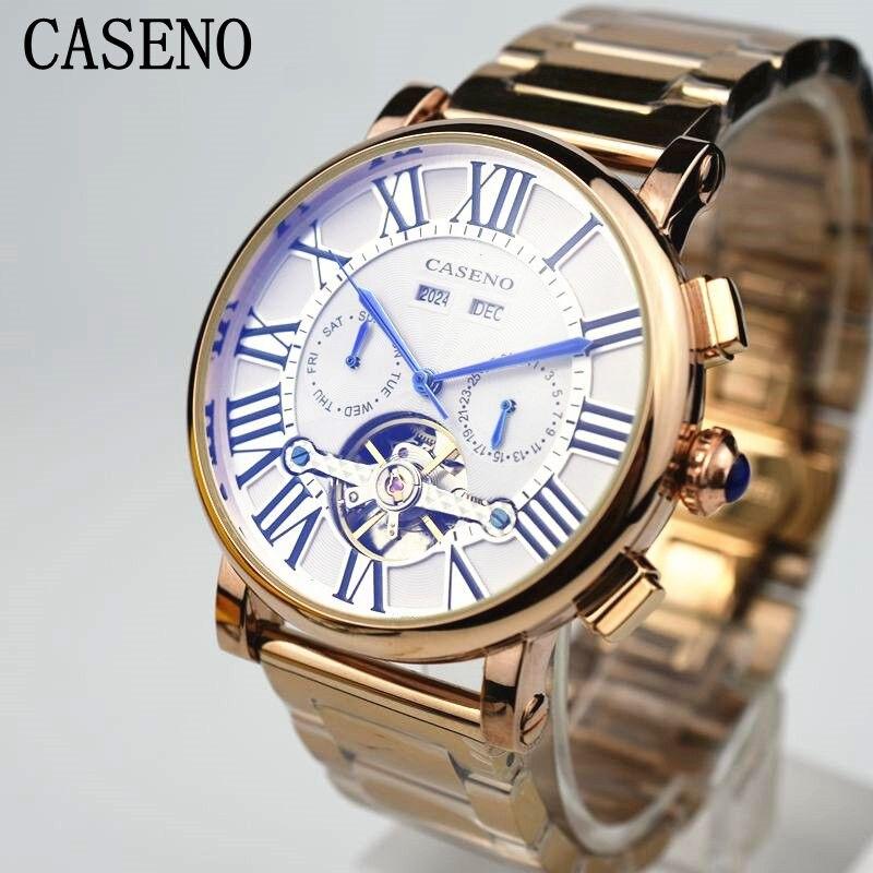 best service 6f13a a42e3 Casenoトゥールビヨンローマメンズ腕時計ブランド高級フル鋼機械 ...