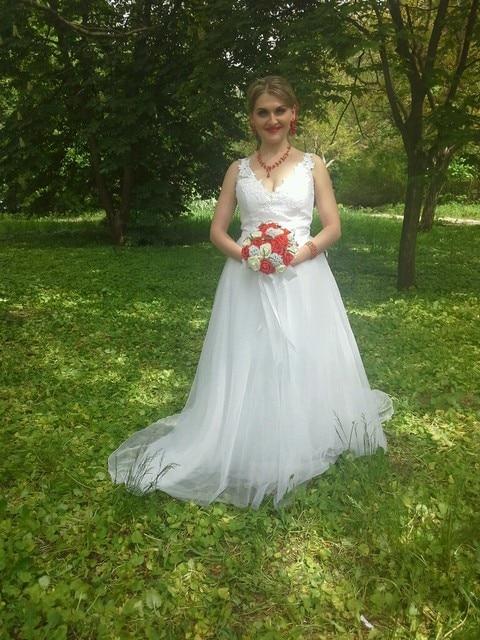 Favordear Two Pieces Detachable Train Lace A Line Wedding Dress Spaghetti Straps See Through Back Tulle Vestido De Novia