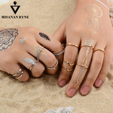 Fashion 6pcs /lot Unique style Gold plated Stacking Midi Finger Knuckle rings Cute Leaf Ring Set For women gold plated embellished ring set