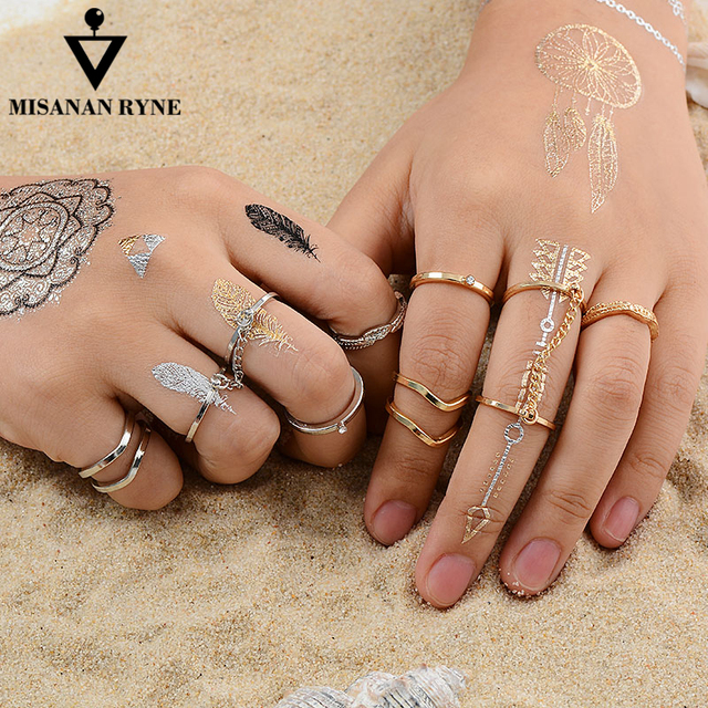 MISANANRYNE 6pcs/lot Fashion Jewelry Adjustable Gold-color Stacking midi Finger