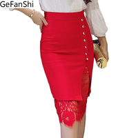 Plus Size Lace Patchwork Single Breasted Desgin Office Skirt Woman Pencil Skirts Sexy Fashion Skirt Ladies