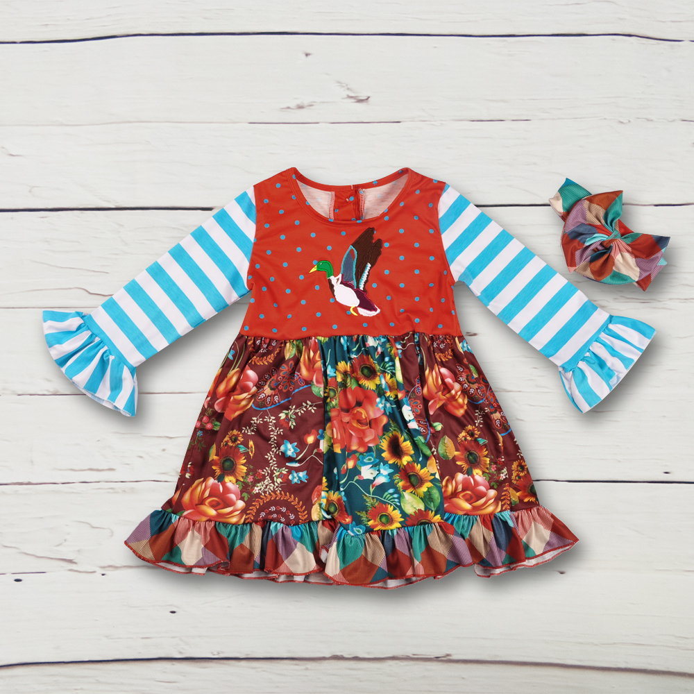 60d5ada2adb Hot Sale Children Long Sleeve Boutique Knitted Cotton Striped Embroidery  Dress Baby Girl Fall Ruffle Dress