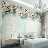 Beibehang tuỳ chỉnh ảnh hình nền 3d fresco đơn giản châu âu tươi gỗ màu xanh cây sakura nền tường mural papel de parede