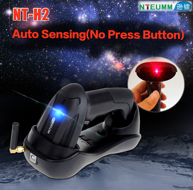 Free Shipping!NTEUMM NT H2 Handheld 433MHz Wireless Barcode Scanner Reader  with Memory Laser Bar code for Inventory&Auto Sensing-in Scanners from