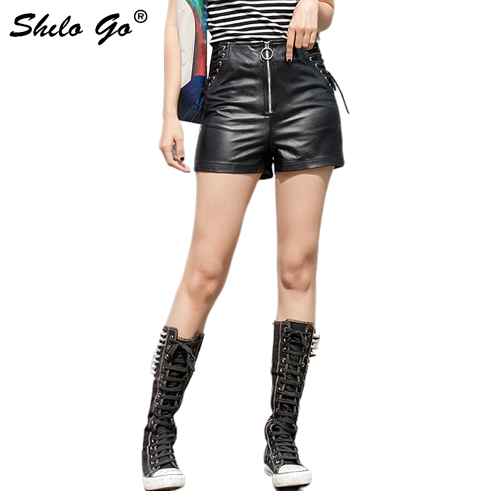 Streetwear Leather Shorts Women Front Zip High Waist Sheepskin Genuine Leather Straight Shorts RivetsFemale Hot Shorts