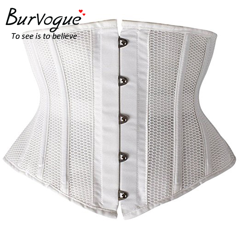Image 5 - Burvogue Women Underbust Corsets and Bustiers Waist Cincher Corset Slimming Corsets Breathable Mesh  Satin Waist Trainer Corsetscorset style prom dresscorset purplecorset set -