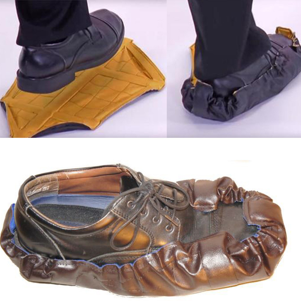 New design Adult Repeated Waterproof Slipcover Fast Automatic Shoe Cover PU Leather drop ship