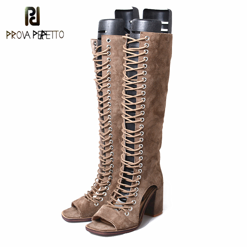 Prova Perfetto New Design Suede Leather Sandal Boots Women Hollow Out Cross Tied Sexy Knee Boot