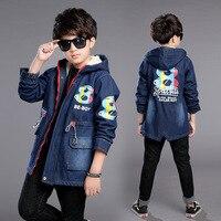Fleece Hooded Thermal Warm Big Boys Denim Jacket Long Teenager Kids Jean Coat Children's Clothing