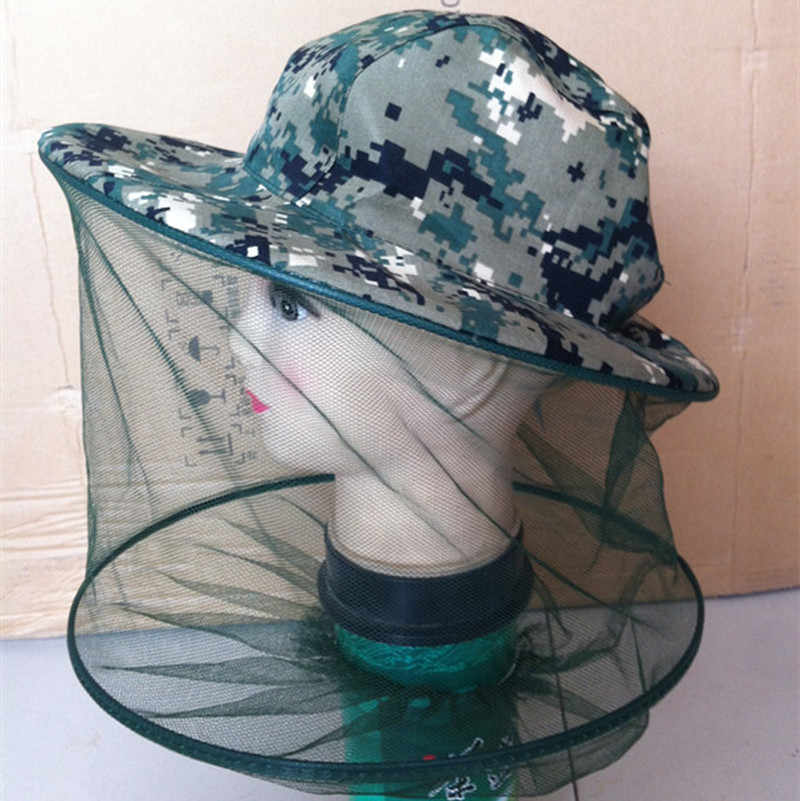 Prevention Camouflage Bee Keeping Fishing Hat Insects Mosquito Net Cap Mesh Mosquito Cap Outdoor Sunshade Lone Neck Head Cover