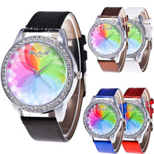 wholesale clock Free shipping Female Fashion Temperament Leather Belt With Simulated Quartz Round Watch Gift A8