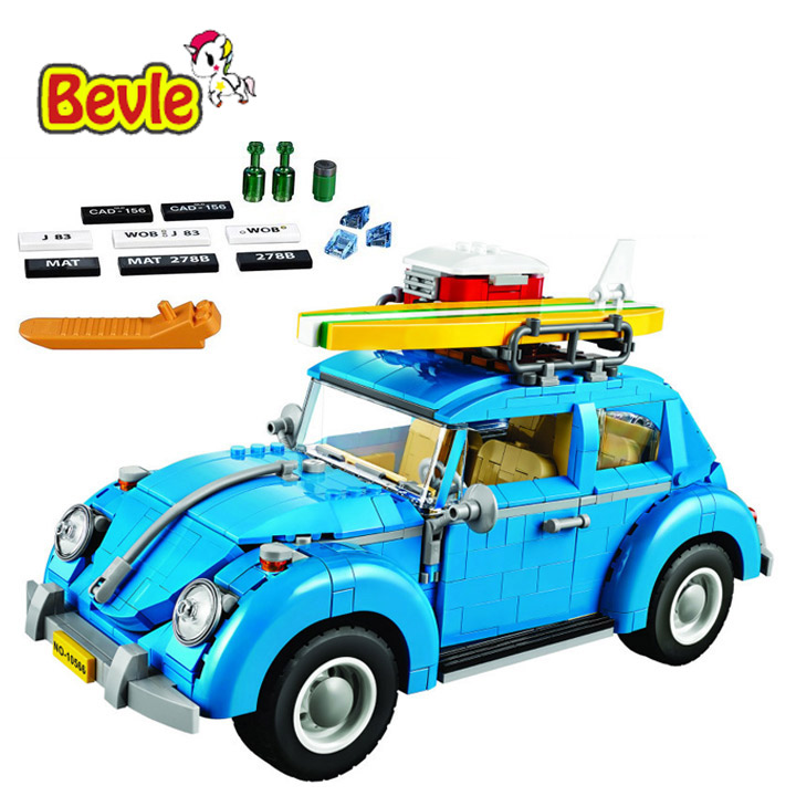 Bela 10566 Create Series Beetle Camping Car City Car Volkswagen Model Building Kit Blocks Bricks Toy Gift 21003 lepin 21003 series city car beetle model building blocks blue technic children lepins toys gift clone 10252