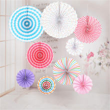 6 pieces/pack of birthday party wedding decoration paper fan flowers home hangings baby shower sunny bright colored paper fan