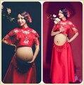 Vestido de Fotografía Foto Disparar Apoyos de La Fotografía de maternidad Vestidos de Maternidad Rojo Vestido de Ropa de Embarazo Para Las Mujeres Embarazadas