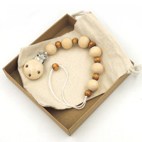 Plain Wooden Soother Big Beads Pacifier Clip Montessori Beads Wooden Dummy Chain Chunky Paci Clip Massive