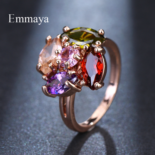 Emmaya Brand Fashion Shiny Romantic Rose Gold Color AAA Multicolor Zircon Jewelry Rings For Women Elegance Wedding Gift Party