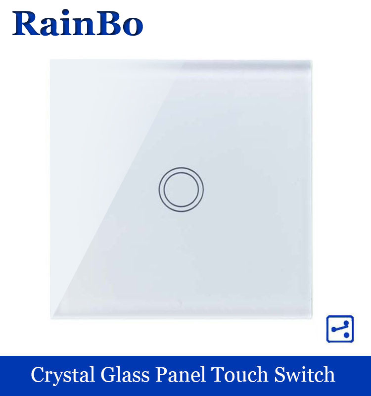 rainbo Crystal Glass Panel Switch EU Wall Switch 110~250V Touch Switch Screen Wall Light Switch 1gang2way for LED Lamp A1912XW/B 2017 smart home crystal glass panel wall switch wireless remote light switch us 1 gang wall light touch switch with controller