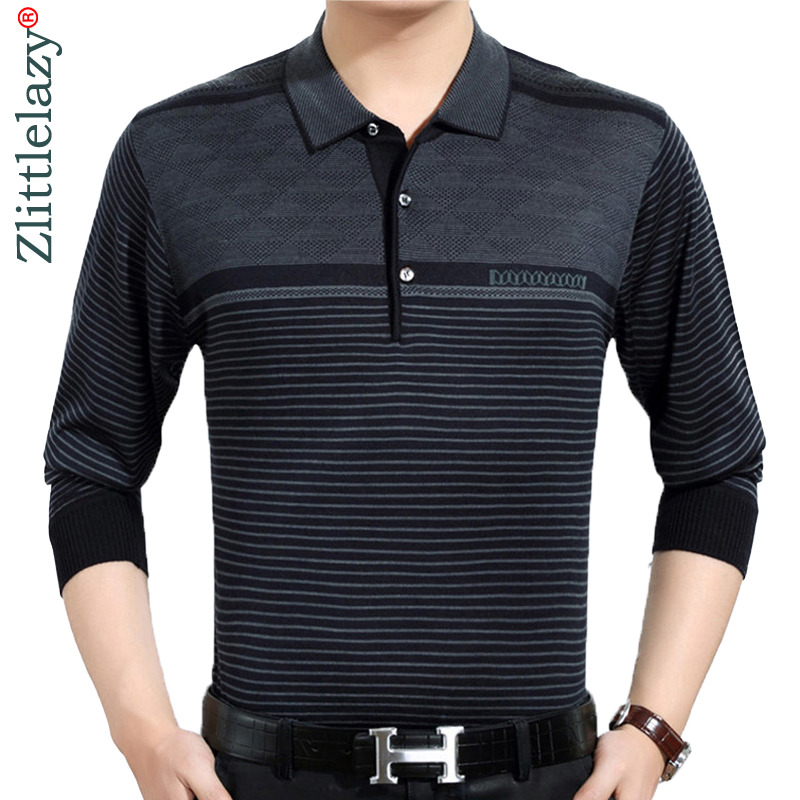 2018 casual long sleeve business mens shirts male striped fashion brand   polo   shirt designer men tenis   polos   camisa social 3881