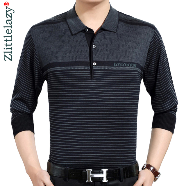 8457e458 2018 casual long sleeve business mens shirts male striped fashion brand polo  shirt designer men tenis