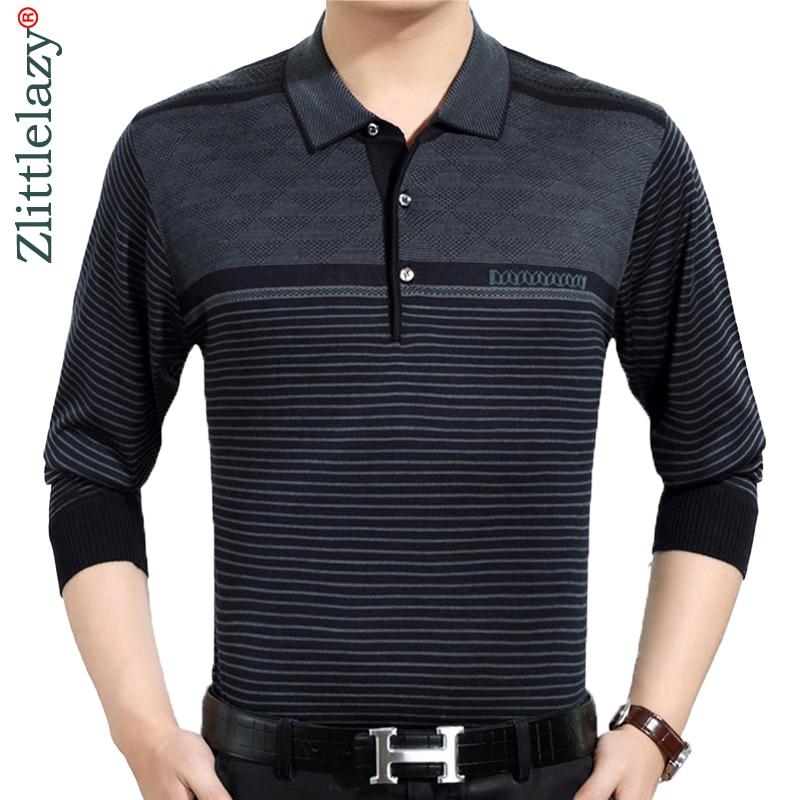 2019 casual long sleeve business mens shirts male striped fashion brand polo shirt designer men tenis polos camisa social 3881