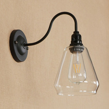 hot deal buy american vintage simple wall lamp glass iron e27 industrial retro decor lightingbedroom study hallway black switch wall lights