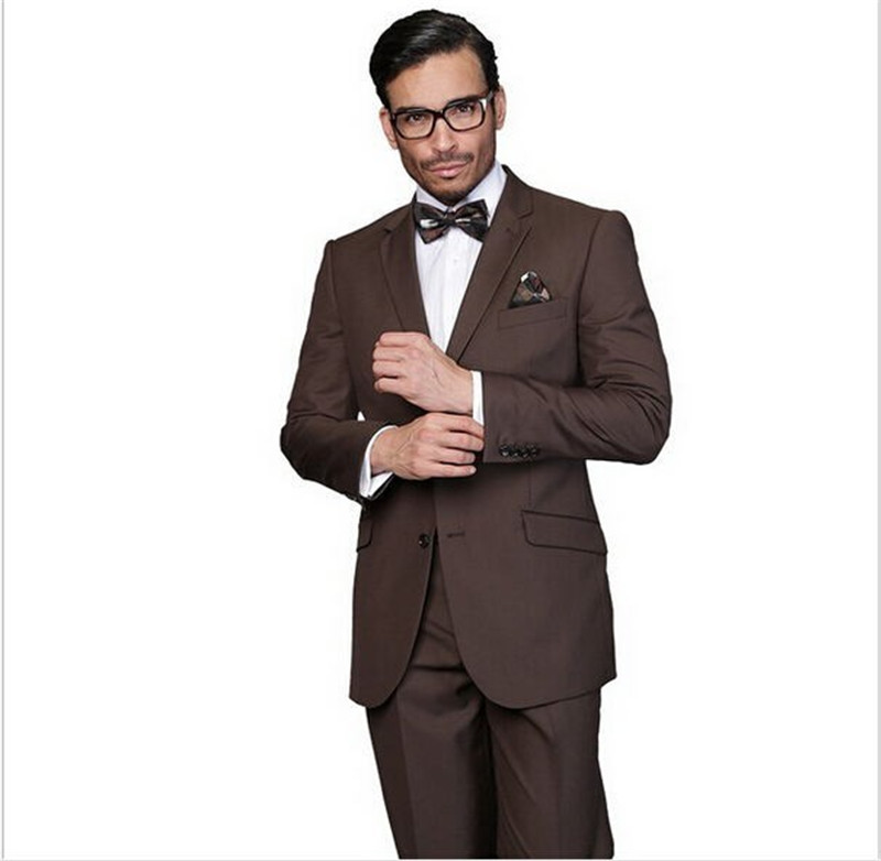 2019 Custom Made Groom Tuxedos Brown Formal Suits Wedding Groomsman Suits ( Jacket+Pants+tie)