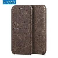 X Level Luxury Cowboy Ultra Thin Nostalgia PU Leather Flip Phone Case For Iphone 7 Plus
